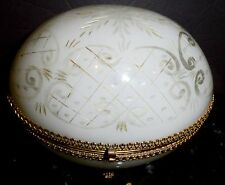 Large Opaline glass box  engraved  white color bronze mounts onset