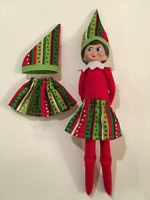 Christmas Scout Elf Skirt & Hat - Green Red Stripes & Polka Dots - Doll Clothes