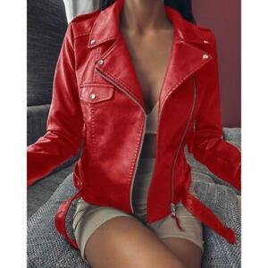 Womens Faux Leather Lapel Collar Biker Jacket Slim Fit Zipper Outwear Coat Plus