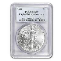 2011 Silver American Eagle MS-69 PCGS (25th Anniv) - SKU #68147