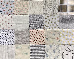 """20 x Low Volume Fabric 5"""" Charm Squares for Patchwork, Quality Cotton"""