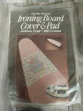 Vintage Pressing Supply Ironing Board Cover Pink Blue Floral Elastic Bound