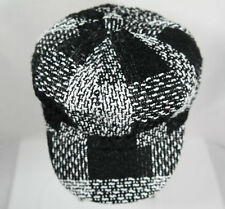 Black and White Check Woven Ladies Winter Hat With Peak