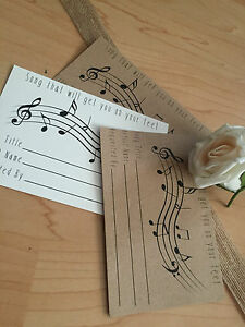12 Vintage/Retro/Rustic Song Request Cards Weddings, Party's, Favour
