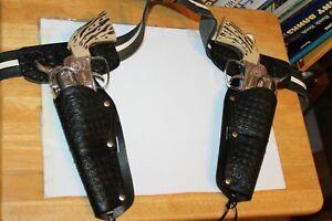TWO VERY NICE 1950'S DIECAST MATTEL FANNER 50 TOY CAP GUNS w/ MATCHING HOLSTER