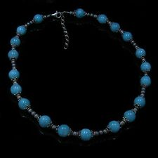 .925 Sterling Silver Natural Amazonite Beaded Necklace
