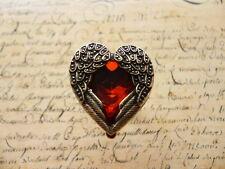 Vintage Antique Bronze Red Heart Gem Angel Wings Adjustable Ring