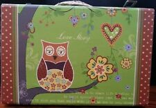 Set 3 Nesting Owl Vintage Fabric Covered Timber Box Carry Bag Suitcase Storage