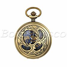 Portable Hollow Gold Blue Mechanical Skeleton Roman Numberals Pocket Watch
