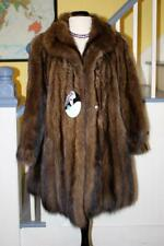 STUNNING! Natural FISHER SABLE Knee Length Fur Coat L/XL