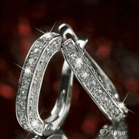 Shiny 925 Silver U-shape huggie diamond Hoop Earrings Women engagement Jewelry