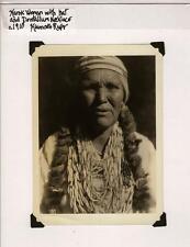 Vintage Original Photograph Karuk Woman w/ Hat & Dentalium Necklace Klamath