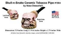 Human Skull with Cobra Snake Tobacco Pipe Glazed Ceramic Glass Niki, Made in USA