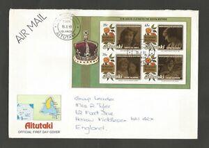 Aitutaki Cook Islands 1990 Queen Mother 90th Birthday FDC, SG MS614