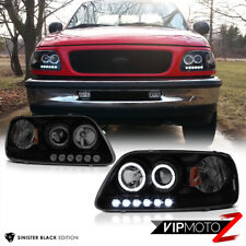 "For 97-03 Ford F150 PickUp ""SMOKE BLACK"" LED Halo Angel Eye Projector Headlight"