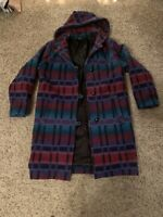 Womens Vintage Woolrich Long Coat/jacket; Multicolored Aztec Print; Size Medium