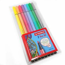 Stabilo Pen 68 Fibre Tip Pens – Wallet of 8 Assorted Pastel Colours – 68/8-01