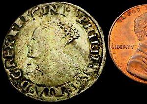V004: Philip & Mary Tudor Hammered Silver Groat, 1554-8, , im Lis, Spink 2508