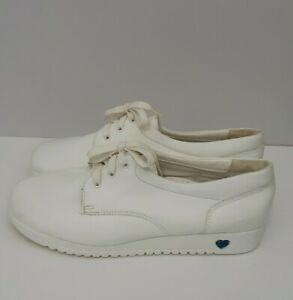Nurse Mates All Day Comfort White Leather Nursing Shoes Size 10 Made in USA