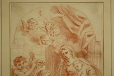Altmeister Zeichnung Frankreich 1650 Maria mit dem Jesuskind Sanguine Old Master