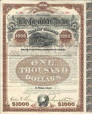TEXAS Dallas Consolidated Traction Railway Co Bond 1890 #964 RARE