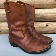 Cabelas by Chippewa Boots Brown Leather Western Hunting Pull On USA Mens 10.5 EE