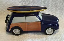 2011 Beachcombers Blue Ceramic Woody Car Surfboard Bank New Collectible Gift