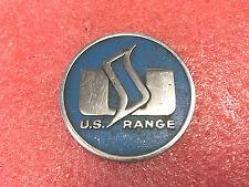 FT1 Vintage RARE U.S. Range blue metal badge emblem from old oven cookstove