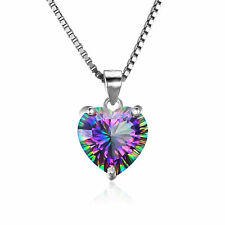 Luxury 4ct 16mm Genuine Mystic Topaz Heart Pendant Necklace 925 Silver Ladies