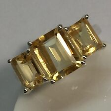 Genuine 6ct Emerald Cut Golden Citrine 925 Solid Sterling Silver 3-Stone Ring 7