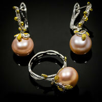 Charming Design Natural Pearl 14mm. 925 Sterling Silver Ring-Earrings / RVSS04