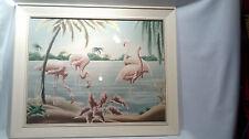 Vintage Mid Century Turner Framed Flamingo Print Under Glass