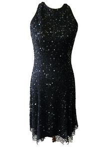 APART UK Women's Size 10 UK Black Sequin Party Dress Midi Sequins Beaded