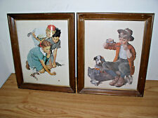 "1972-73 NORMAN ROCKWELL ""KNUCKLES DOWN"" & ""PRACTICING INTERN"" FRAMED LITHO PRINT"