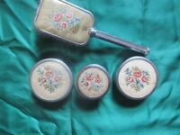 Vintage 1940's Dressing Table Set - Petit Point Decoration - Brush+3 Vanity Jars