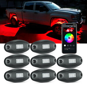 X1 8 Pod RGB LED Rock Light Underbody Neon Glow Lamp Kit Bluetooth Control Music