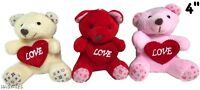"""Valentine's Day Teddy Bear 4"""" Tall 1 Red 1Pink 1 Beige New Lot of 3"""