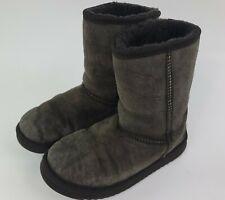 Taylor Marcs Boots Size 8 Sheepskin Suede Dark Brown Gray Fur Winter Women Shoes