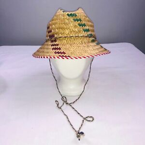 Youth Hat One SZ Brown Colorful Straw Hat Adjustable Chin Strap Costume Dress Up