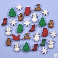 DRESS IT UP Buttons Christmas Miniatures 1168 - Gingerbread Snowflakes Snowmen