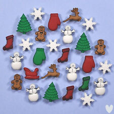 DRESS IT UP Buttons Christmas Miniatures 1168 - Gingerbread Snowflakes Snowmen