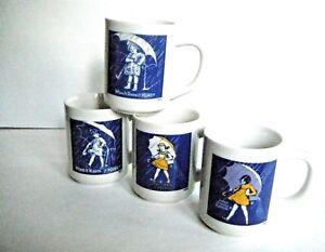 Morton Salt Set Of Four Vintage Ads Coffee Mugs Cups Excellent