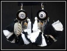 Grandes Boucles d oreilles BIJOUX LOL LOLILOTA PARIS noir blanc pompon coeur