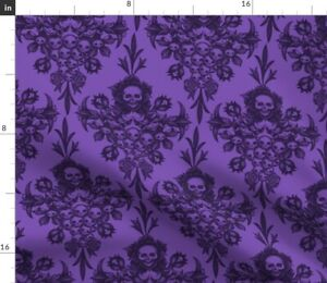 Skull Damask Purple Modern Floral Home Decor Spoonflower Fabric by the Yard