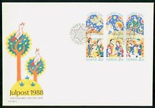 SWEDEN FDC 1988 COVER CHRISTMAS BOOKLET BLOCK OF 6 kkm79907