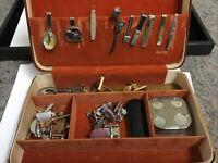 Small Vintage Jewelry Box With Men's Jewelry-Gun Tie Clip