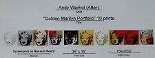 ANDY WARHOL GOLDEN MARILYN MONROE PORTOFOLIO OF 10 NUMBERED SUNDAY B.MORNING