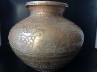 Antique Indian Engraved Brass Water Container Vase