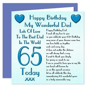 My Wonderful Dad Lots Of Love Happy Birthday Card - Age Range 30 - 100 Years