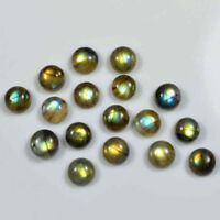 A PAIR OF 9mm ROUND CABOCHON-CUT NATURAL AFRICAN LABRADORITE GEMSTONES